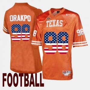 Men's US Flag Fashion #98 Longhorns Brian Orakpo college Jersey - Orange