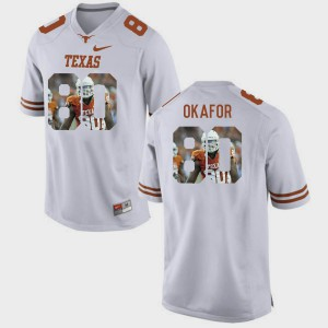 Men Pictorial Fashion University of Texas #80 Alex Okafor college Jersey - White