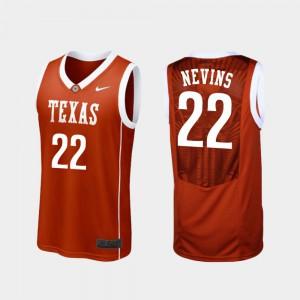 Men's Replica Basketball #22 University of Texas Blake Nevins college Jersey - Burnt Orange