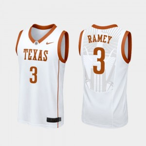 Men's #3 Courtney Ramey college Jersey - White Replica Basketball University of Texas