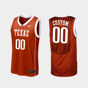 Mens Basketball #00 Replica Texas Longhorns college Customized Jersey - Burnt Orange