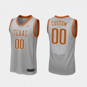 Men's Replica University of Texas Basketball #00 college Custom Jersey - Gray