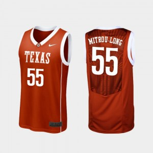 Men's #55 Longhorns Basketball Replica Elijah Mitrou-Long college Jersey - Burnt Orange