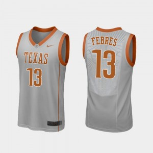 Men's Replica Basketball Texas Longhorns #13 Jase Febres college Jersey - Gray