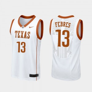 Men's UT #13 Basketball Replica Jase Febres college Jersey - White