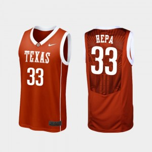 Men's #33 Kamaka Hepa college Jersey - Burnt Orange Replica Basketball UT