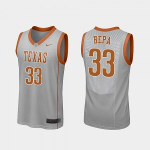 Men's Basketball Replica Longhorns #33 Kamaka Hepa college Jersey - Gray