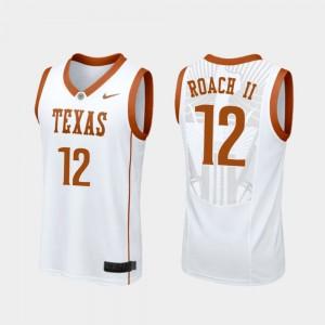 Men's Longhorns Replica #12 Basketball Kerwin Roach II college Jersey - White