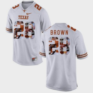 Men UT #28 Pictorial Fashion Malcolm Brown college Jersey - White