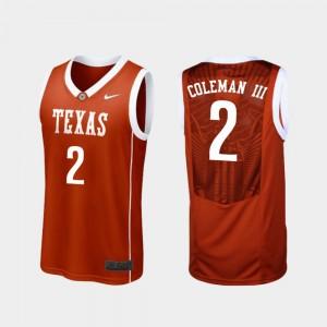 Mens Replica #2 Texas Longhorns Basketball Matt Coleman III college Jersey - Burnt Orange