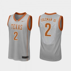 Men's #2 Replica UT Basketball Matt Coleman III college Jersey - Gray