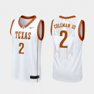 Men's #2 Basketball Replica University of Texas Matt Coleman III college Jersey - White