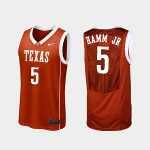 Men Basketball Replica University of Texas #5 Royce Hamm Jr college Jersey - Burnt Orange