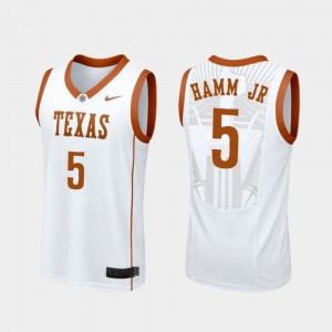 Men's Replica Longhorns Basketball #5 Royce Hamm Jr college Jersey - White