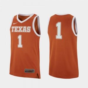 Men #1 Basketball UT Replica college Jersey - Texas Orange