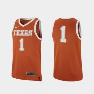 Men UT Replica Basketball #1 college Jersey - Texas Orange