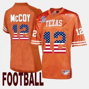 Mens #12 UT Throwback Colt McCoy college Jersey - Orange
