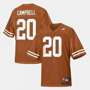 Men's #20 Football University of Texas Earl Campbell college Jersey - Orange