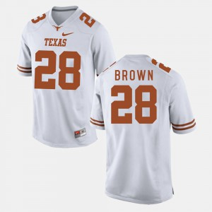 Men's University of Texas Football #28 Malcolm Brown college Jersey - White
