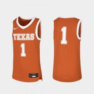 Kids #1 Basketball Replica University of Texas college Jersey - Orange
